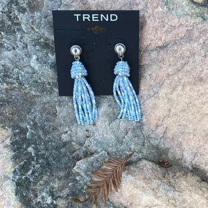 NWT! Trend tassel earrings in light blue, white